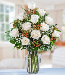 One Dozen White Colombian Roses