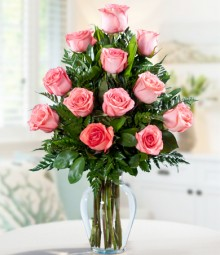 One Dozen Pink Colombian Roses