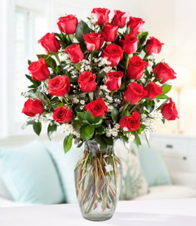Two Dozen Red Roses with FREE Clear Vase