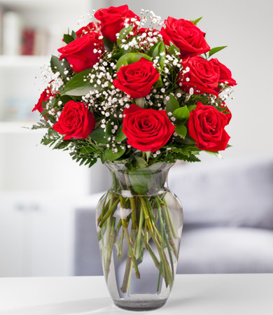 One Dozen Red Roses + Clear Glass Vase