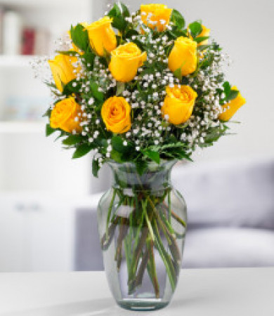 R-012Y: One Dozen Colombian Yellow Roses