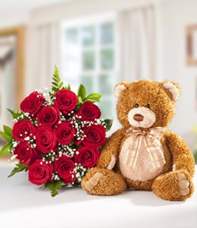 R-025: Dozen Red Roses with Teddy Bear
