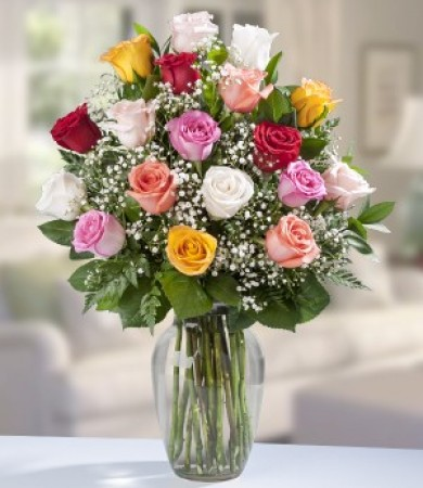 One Dozen Assorted Roses  + 6 FREE Roses